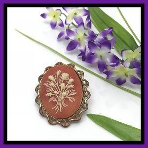 Vintage Floral Motif Cameo Brooch
